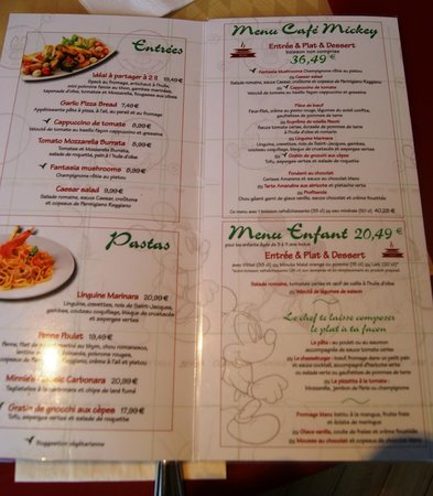 Menu Picture of Cafe Mickey MarnelaVallee TripAdvisor