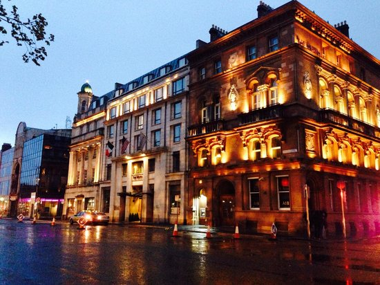 The Westin Dublin: View of the hotel exterior. Trinity College is across the street, to the right.