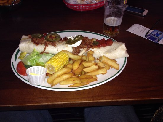 """The Wellow: 12"""" burrito with pulled pork and rice"""