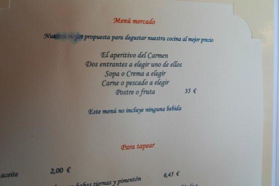 Carmen de San Miguel: menu incompréhensible