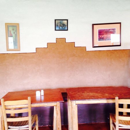 Taos Pueblo: This is part of the interior of the Tiwa Kitchen. The many windows offering beautiful, natural l