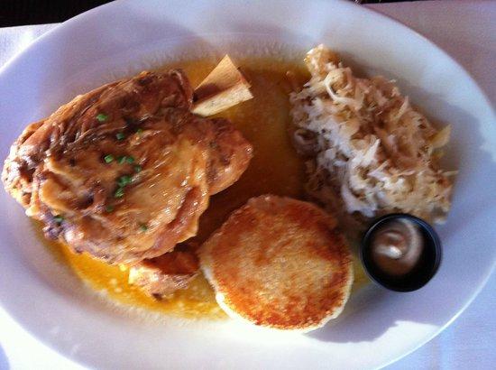 Cafe Coconut Cove : Eisbein $20 Braised Pork Shank, Au Jus, Sauerkraut, Potato Puff.