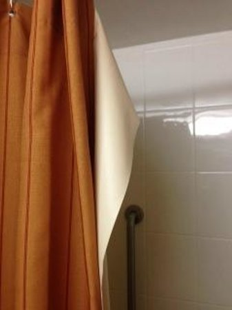 University Plaza Hotel and Convention Center: Broken shower curtain