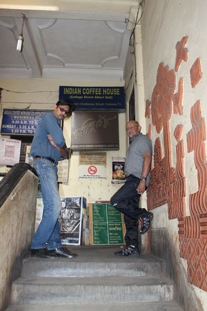 Walks of India Day Tours: Hrithik from Walking Kolkata Tours outside the famous Indian Coffee House