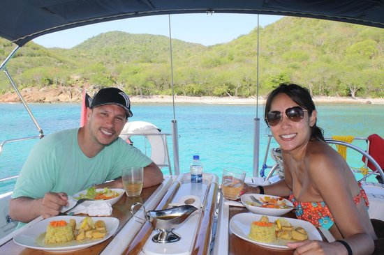 Adventure Caribbean Yacht Charter: Having lunch after snorkeling