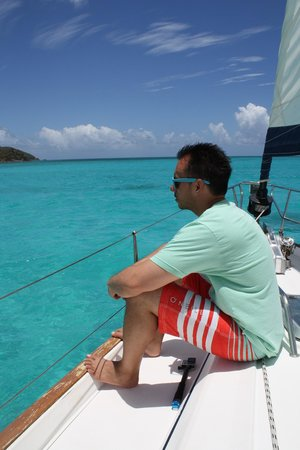 Adventure Caribbean Yacht Charter: catching some sun on top