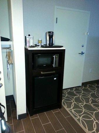 Nice microwave, coffee maker and mini fridge