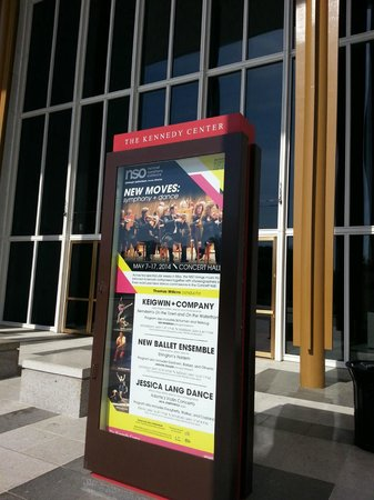 John F. Kennedy Center for the Performing Arts : Billboard in front of the facility