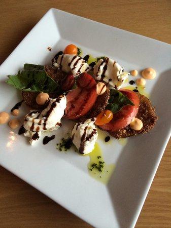 LouReda's An American Table: Fried Green Tomato Caprese Salad with Burrata