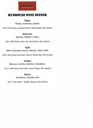 The District Grill Room and Bar: Menu