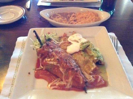 Maria Bonita: chile rellano, flauta and chicken enchilada...yum
