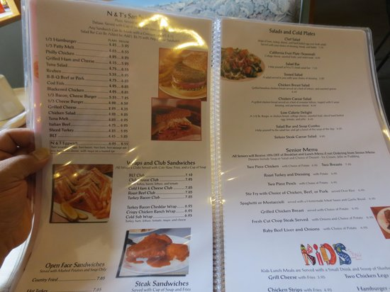 N & T's Restaurant: Great Menu...eat well under $10