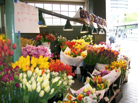 Beautiful flowers at Pike Place Market in May 2014