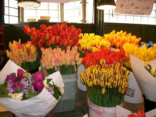 Amazing tulips in various colors.. Pike Place Market Seattle, WA