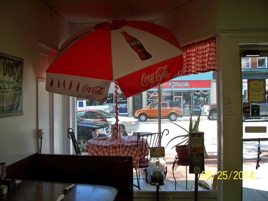 Main Cafe: Umbrella in window display