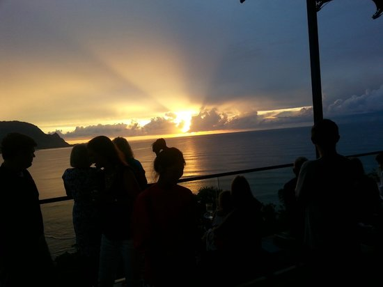 View of sunset from bar above Makana Terrace restaurant