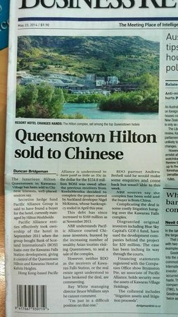 Hilton Queenstown Resort & Spa: NBR Front Page 23 May 2014. Sold to Chinese?