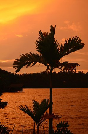 Kalla Bongo Lake Resort : Sunset from the waterfront at Kalla Bongo
