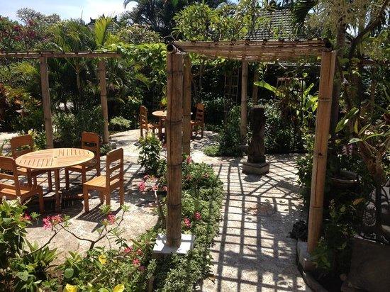 Poinciana Oceanside Resort & Retreat Centre: Poinciana restaurant garden terrace