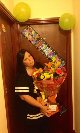 White Heather Hotel: Birthday balloons and banners, plus flowers Steve n Antony organised for me for my Wife