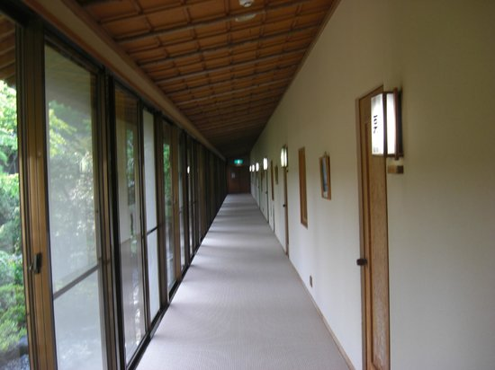 Magi Onsen Ryokan: The hallway to our room and the dining room.