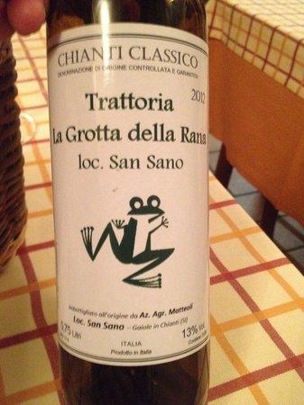 La Grotta della Rana: House wine. Nice, plenty of flavour