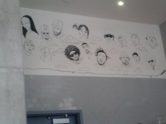 The Line : The bakery with hip hop legends artistically place on the wall