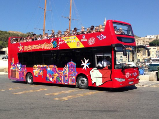 Victoria, Malta: City Sightseeing Gozo Bus at the Mgarr Harbour