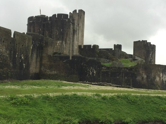 Caerphilly Castle: View over the moat