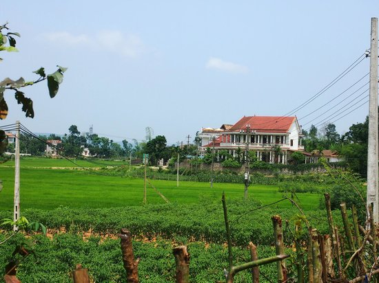 Phong Nha Farmstay: Looking back toward the Farm Stay