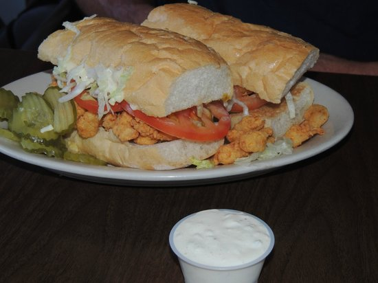 Morton's Seafood Restaurant and Bar: Shrimp po boy, stuffed and overflowing with shrimp.