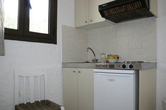 Saradari Apartments : Micro kitchenette mal équipée