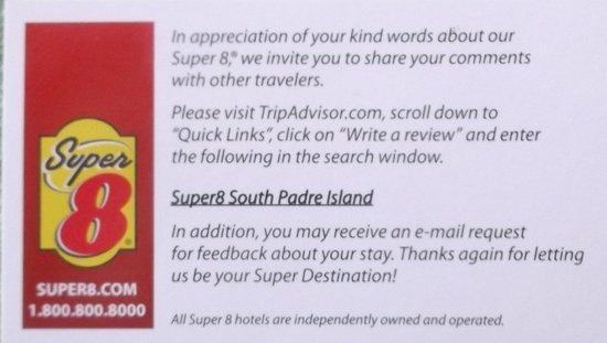 Super 8 South Padre Island : Trip Advisor invitation.