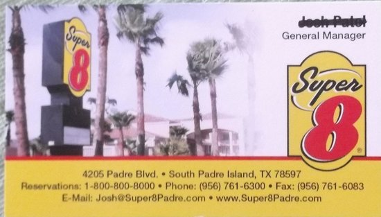 Super 8 South Padre Island: Business card