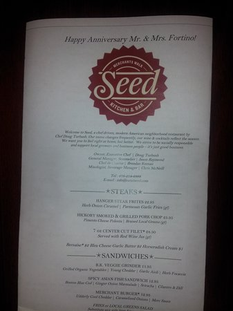 Seed Kitchen & Bar: Our personalized menu