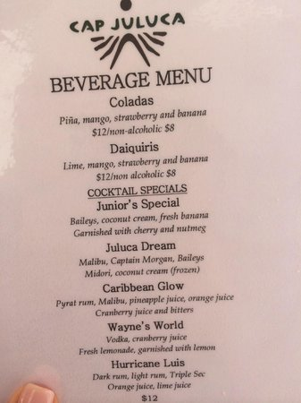 Belmond Cap Juluca : Beverage Menu on the Beach