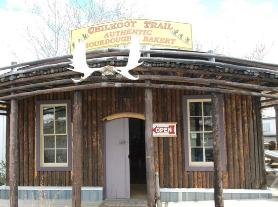 Chilkoot Trail Authentic Sourdough Bakery : outside of the bakery...get YOUR antlers here...
