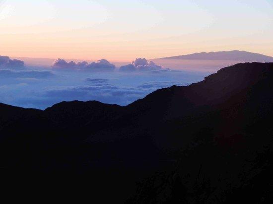 Haleakala Crater: Mauna Kea seen at upper right