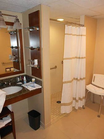 Hartford Marriott Farmington: The bathroom for people with limited mobility. A bit old, but everything worked fine