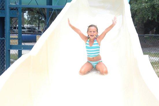 Yogi Bear's Jellystone Park: Coming down the 60ft. hugh water slide!