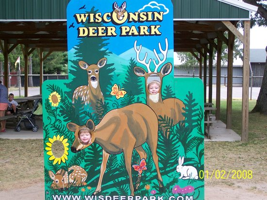 Wisconsin Deer Park: Wyatt and Mason at the entrance to the park