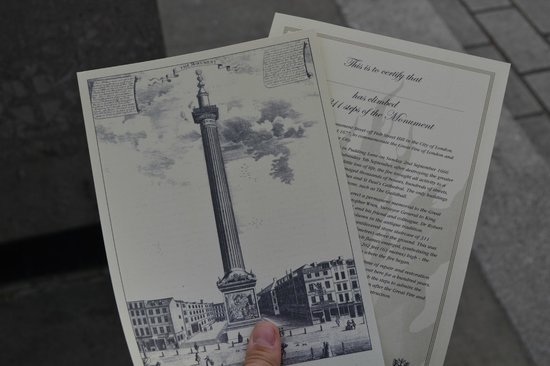 The Monument to the Great Fire of London : Certificati