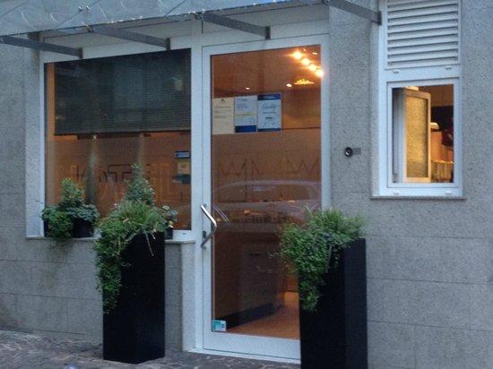 Hotel Drei Kronen: note hotel name etched into glass of front door
