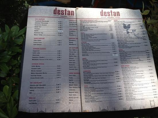 Ortakoy : Destan Meydan Restaurant Menu