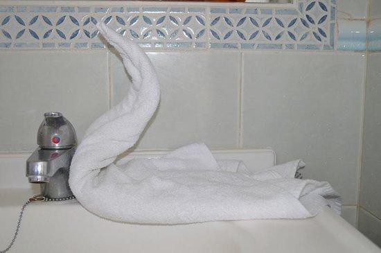 Los Arcos Bungalows: Den fina svanen fick stå kvar hela veckan :)