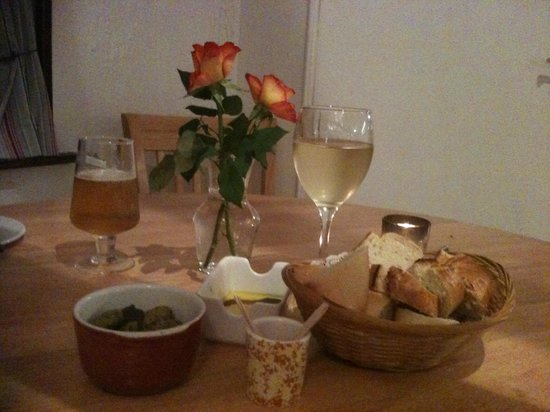 The Wharf: Table with olives and dipping bread starters