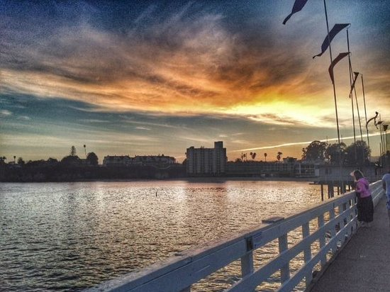 A shot from the Santa Cruz Wharf at sunset looking towards the city.