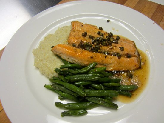 The Village Table: Red Trout with hominy grits and green beans