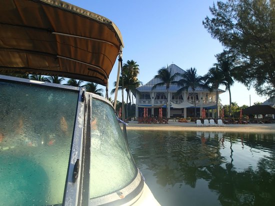 White Sand Water Sports: View of Kaibo Yacht Club from tour boat