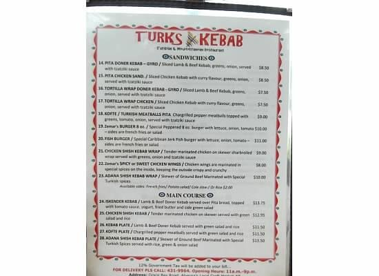 Turks Kebab: Menu